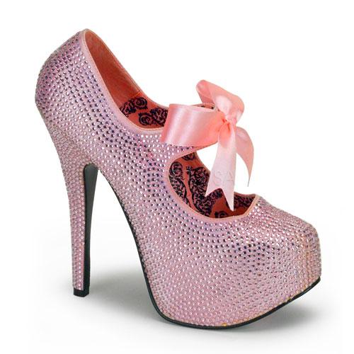 Pink rhinestone pump